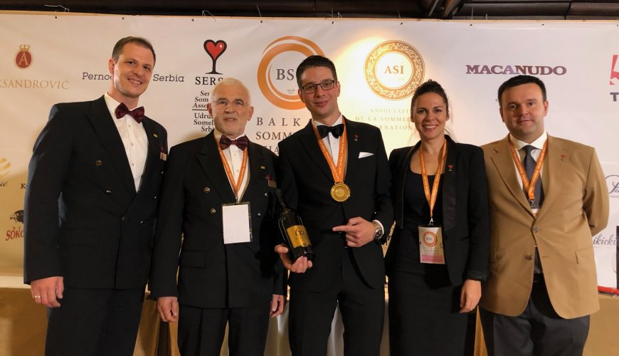 Vuk Vuletić - champion (center), Đurđa Katić, Ivan Nikolić (far right), Ivan Peršolja president of Slovenian sommelier association (2nd from left) and myself